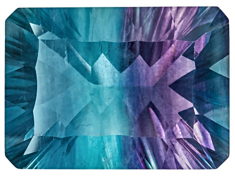 Bi-Color Fluorite 18x13mm Rectangular Octagonal Quantum Cut 19.00ct