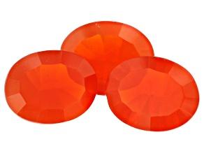 Fire Opal Set of 3 3.60ctw 9x7mm Quantum Cut Oval