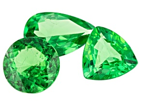 Tsavorite Garnet Mixed Shape Set Of 3 2.21ctw