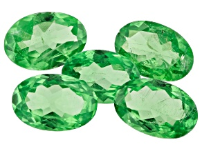 Tsavorite Garnet 6x4mm Oval Set Of 5 2.10ctw