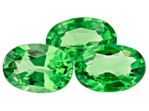 Tsavorite Garnet 1.97ct Set Of 3: 6.5x4.5mm Oval