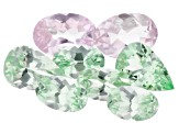 Grossular Garnet and Pink Topaz Oval and Pear Shape Set of 8 3.20ctw
