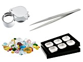 20CTW Spice Mix Facets, 6 Storage Jar Gemstone Tray, Tweezers and 10X Loupe