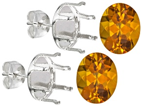 Citrine 10x8mm Oval 4.00ctw  Sterling Silver Earring Casting Kit