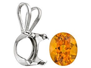 Madeira Citrine 12x10mm oval 14k white gold pendant casting kit 4.00ct
