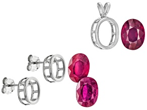Ruby Oval with Sterling Silver Bezel Earring and Pendant Casting Kit 3.25ctw