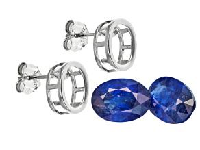 Sapphire 7x5mm Oval with Sterling Silver Bezel Earring Casting Kit 1.75ctw