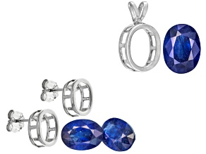 Sapphire Oval With Sterling Silver Bezel Earring and Pendant Casting Kit 3.25ctw