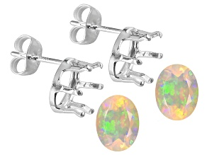 Ethiopian opals minimum 8X6MM oval GemTite Nostalgia(TM) sterling silver earring casting kit1.20ctw