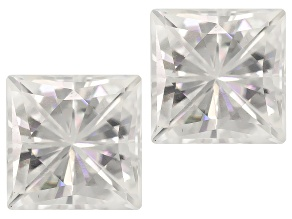 Moissanite Fire ™ 4.5mm Square Brilliant Cut Matched Pair Diamond Equivalent Weight Apx 1.20ctw