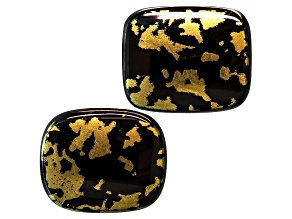 Goldenite Black Hornblende 12x10mm Rectangular Cushion Cabochon Set