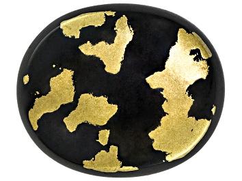 Picture of Goldenite Black Hornblende 12x10mm Oval Cabochon