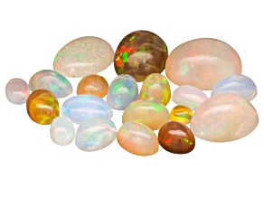 Parcel Of Ethiopian Opal Minimum 10.00ctw Mixed  Cabochon Sizes And Shapes