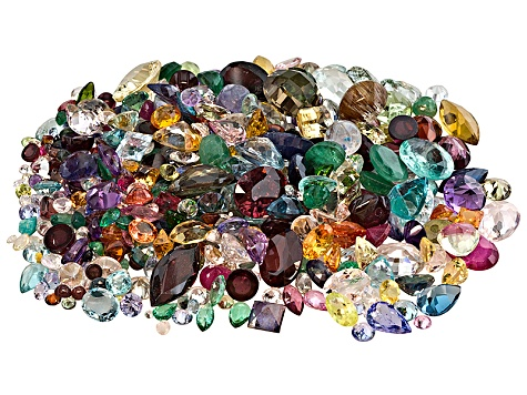 Multi color natural and synthetic gemstone mixed shape parcel 50.00ctw