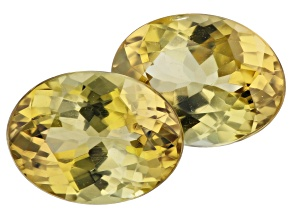 Greenish Yellow Zoisite 2.87ct 8x6mm Oval Matched Pair