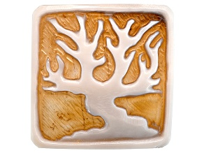 30.00mm Square Carved Cut Natural Shell Cameo From Caribbean