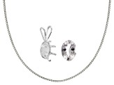 White Zircon Min .70ct 7x5mm Ov Sterling Silver 7x5mm Ov Pendant Casting & Chain Kit