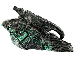 Emerald Alligator Carving