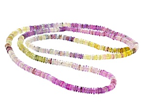Multi-color Sapphire 3-4mm Thin Rondelle Endless Strand Necklace Approx 24 Inches