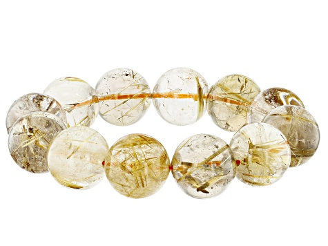 Rutilated Quartz 18mm Round Bead Stretch Bracelet