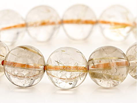 Rutilated Quartz 14mm Round Bead Stretch Bracelet