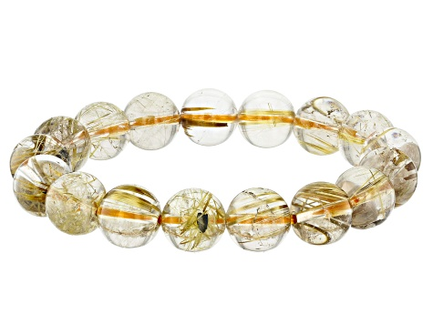 Rutilated Quartz 12mm Round Bead Stretch Bracelet