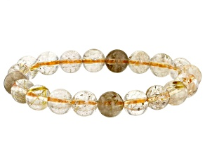 Rutilated Quartz 10mm Round Bead Stretch Bracelet