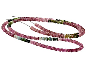 Multi-Color Tourmaline 4mm Thin Rondelle Bead Strand