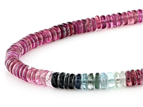 Multi Tourmaline Necklace 4.5mm Beads Tourmaline 8 Inch Strand Multi Tourmaline Rondelle Beads Green Tourmaline
