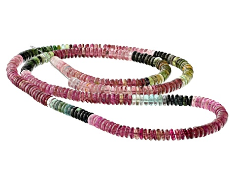 Multi-Color Tourmaline 5.2-5.5mm Thin Rondelle Bead Strand