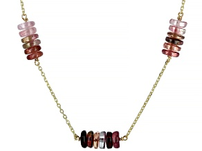 Pink Tourmaline 14k Gold Diamond Cut Cable Chain 5 Station Necklace 33ctw