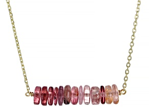 Pink Tourmaline 14k Gold Diamond Cut Cable Chain Bar Necklace 14ctw