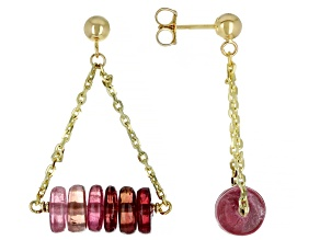 Pink Tourmaline 14k Gold Diamond Cut Cable Chain Dangle Earrings 13ctw