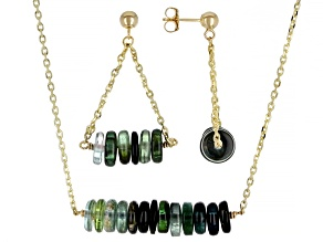 Green Tourmaline Rondelle 14k Gold Cable Chain Bar Necklace and Dangle Earring Set 27ctw