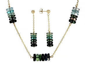 Green Tourmaline Rondelle 14k Gold Cable Chain 5 Station Necklace and Dangle Earrings Set 45ctw
