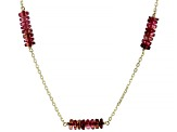 Pink Tourmaline 14k Gold Diamond Cut Cable Chain 5 Station Necklace 14ctw