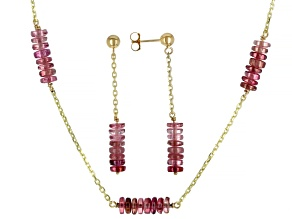Pink Tourmaline Rondelle 14k Gold Cable Chain 5 Station Necklace and Dangle Earrings Set 19ctw