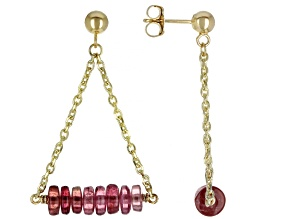 Pink Tourmaline 14k Gold Diamond Cut Cable Chain Dangle Earrings 5.7ctw