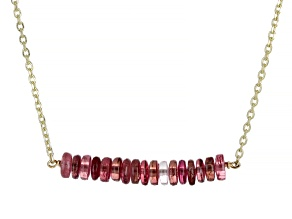 Pink Tourmaline 14k Gold Diamond Cut Cable Chain Bar Necklace 6ctw