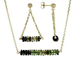Green Tourmaline Rondelle 14k Gold Cable Chain Bar Necklace and Dangle Earring Set 11ctw