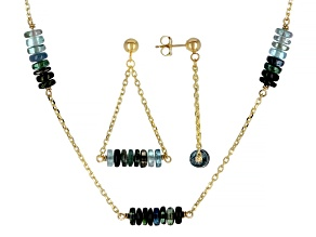 Blue Green Tourmaline Rondelle 14k Gold Cable Chain 5 Station Necklace & Dangle Earrings Set 19ctw