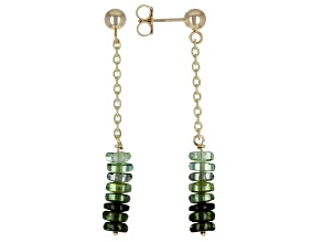 Green Tourmaline Rondelle 14k Gold Diamond Cut Cable Chain Dangle Earrings 5ctw