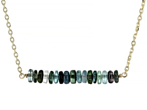 Blue Green Tourmaline 14k Gold Diamond Cut Cable Chain Bar Necklace 5ctw