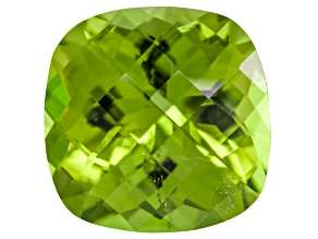 Peridot 10mm Square Cushion Checkerboard Cut 4.70ct