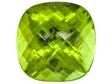 Peridot 11mm Square Cushion Checkerboard Cut 6.21ct