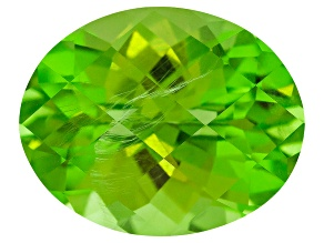 Peridot 11.5x9.5mm Oval Checkerboard Cut 4.10ct