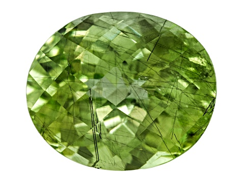 Peridot 12.5x10.5mm Oval Checkerboard Cut 7.03ct