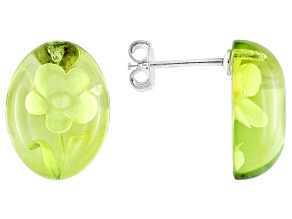 Green Copal Oval Cabochon Carved Flower Sterling Silver Stud Earrings