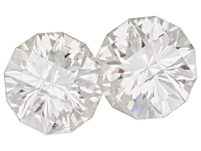 Moissanite Fire ™ 3.5mm Round Castle Cut Matched Pair Apx. .32ctw Diamond Equivalent Weight