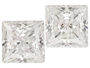 Moissanite Fire ™ 3.5mm Square Princess Cut Matched Pair Apx .50ctw Diamond Equivalent Weight